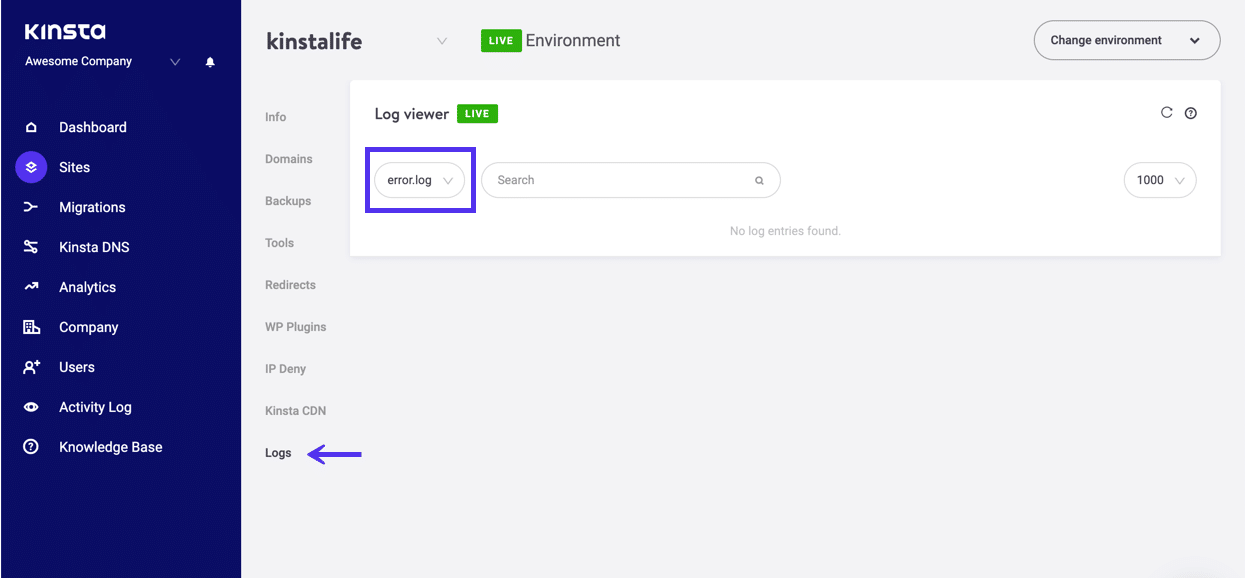 Visualização dos logs do servidor no painel do MyKinsta