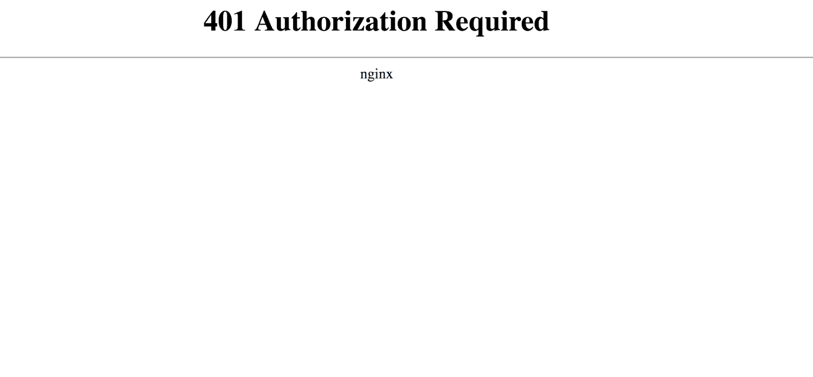 Nginx 401 Autorização Mensagem de erro necessária