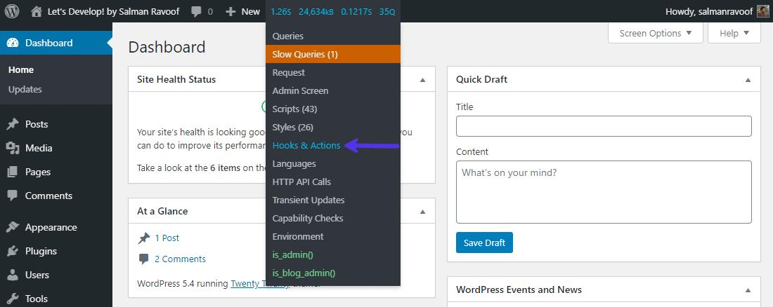Você pode acessar o Query Monitor na barra de administração