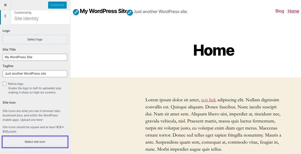 O botão 'select site icon' no Customizer do WordPress