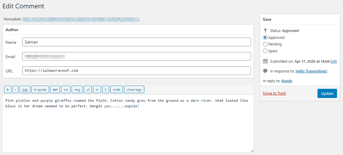 O comentário original no back-end do site