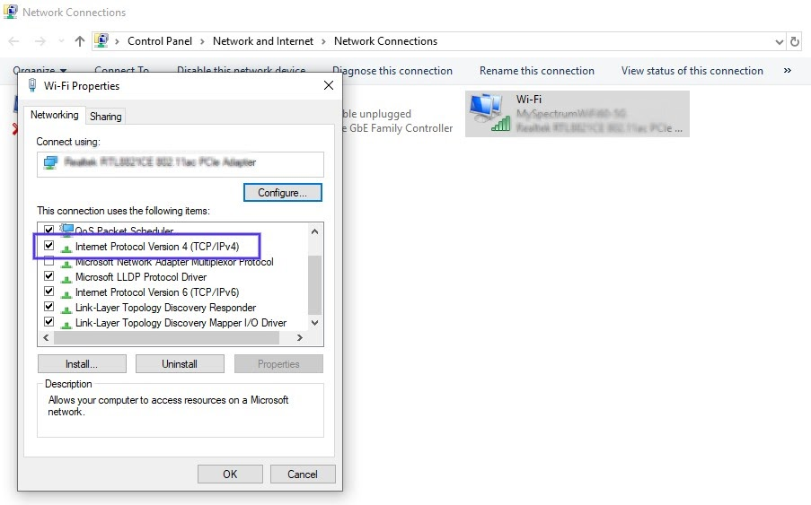 As configurações de propriedades Wi-Fi no Windows