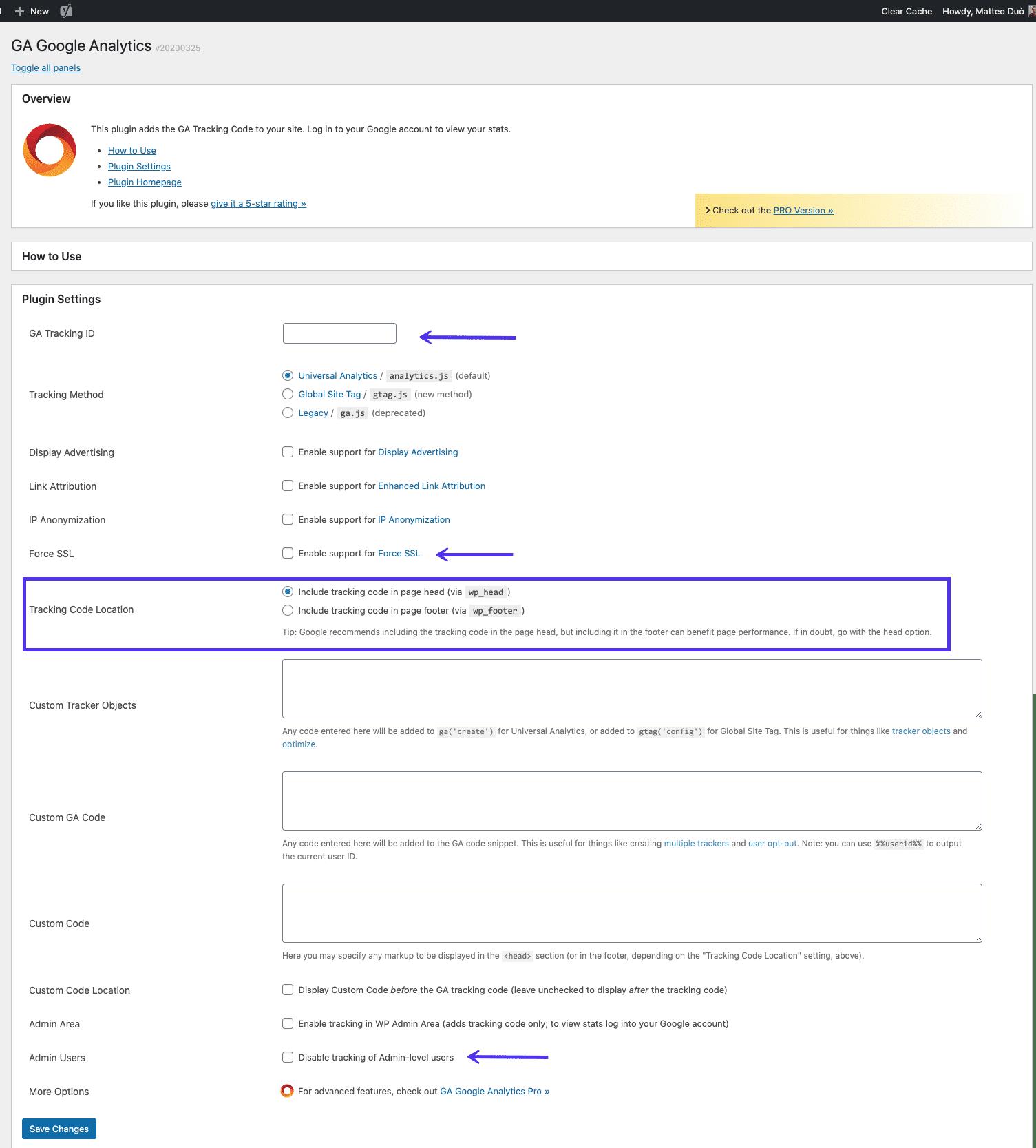 GA Google Analytics página de configurações de plugins do WordPress