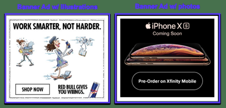 Ilustrações versus anúncios em banner de fotos