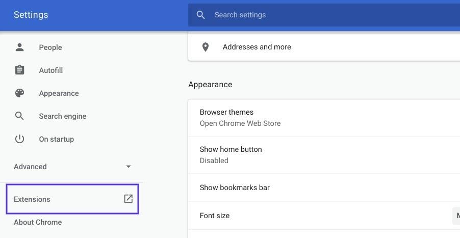 O item do menu Extensões nas configurações do Chrome