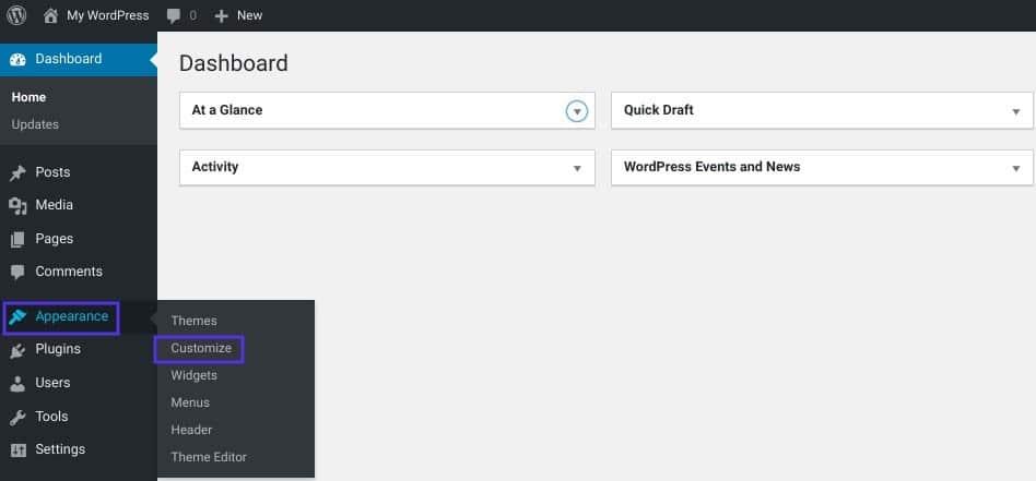 O menu Aparência no WordPress