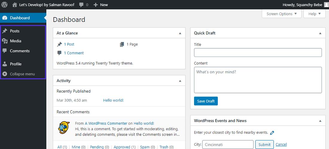 Ocultando itens sensíveis do menu de administração de usuários não-administradores