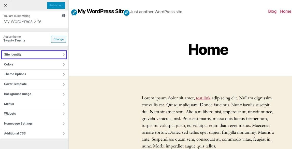 A opção 'Identidade do Site' no WordPress Customizer
