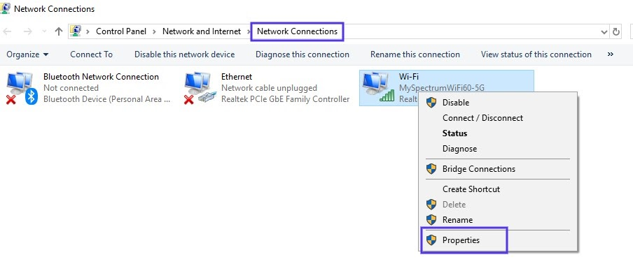 A página de configurações de Conexões de Rede no Windows