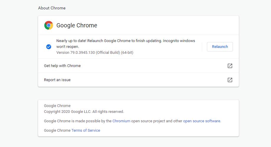 A página Sobre do navegador Google Chrome