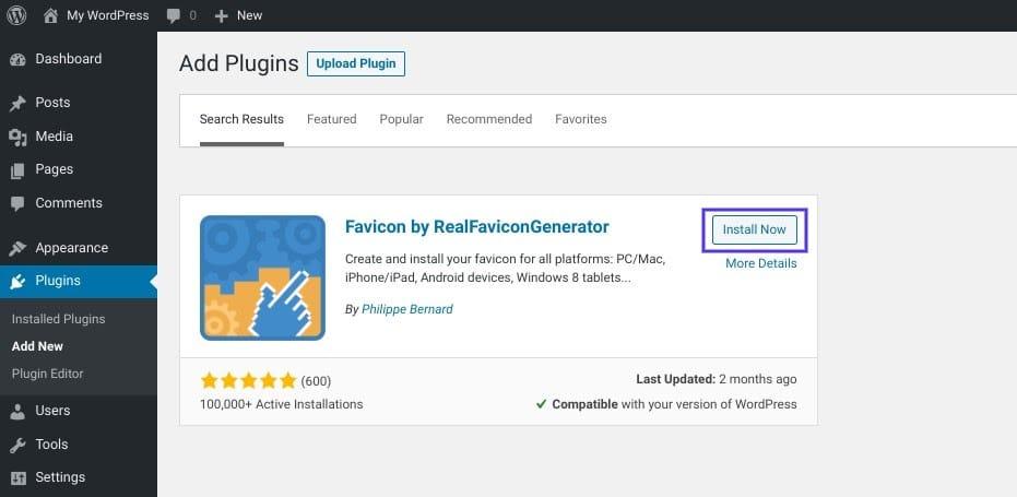 O plugin Favicon by RealFaviconGenerator WordPress