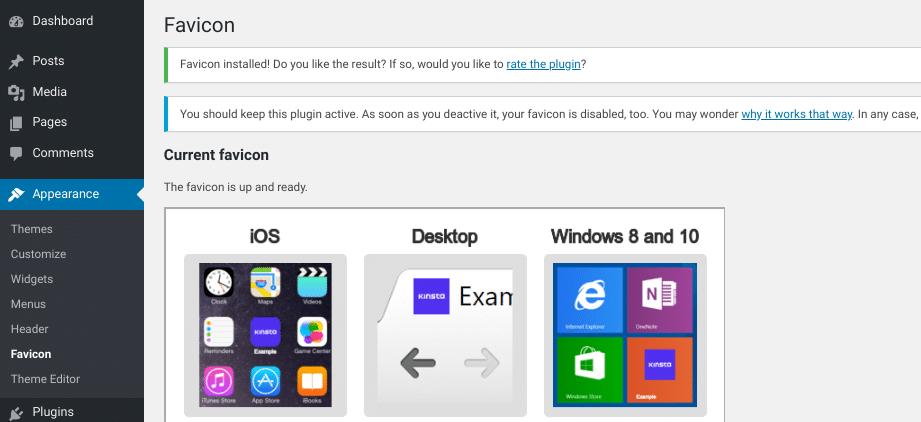 A tela para pré-visualizar como seu favicon do WordPress irá aparecer