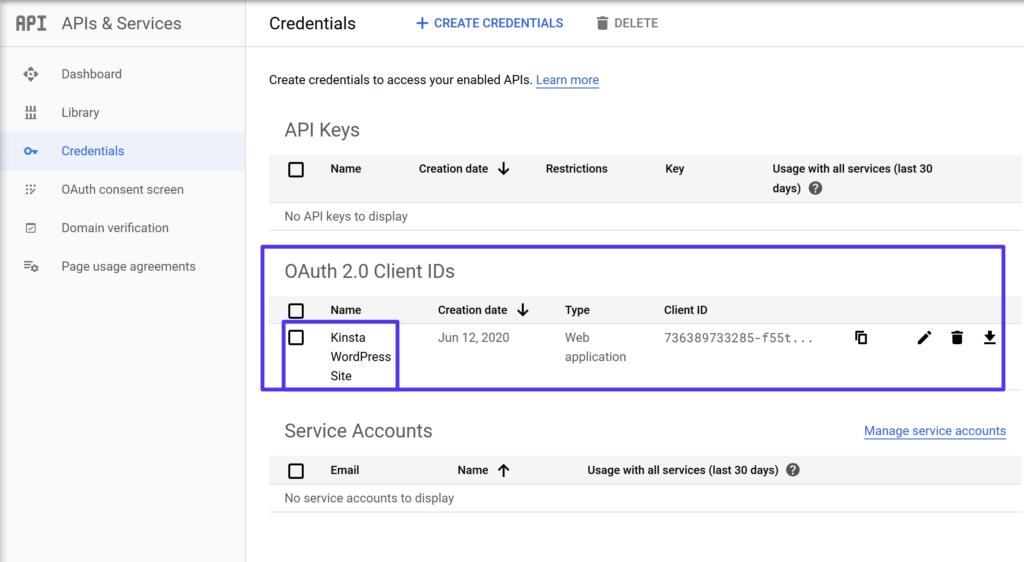 Acesse as identificações de clientes OAuth 2.0
