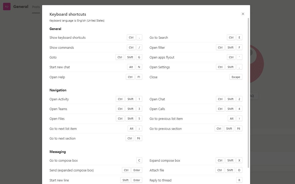 Atalhos de teclado das Microsoft Teams
