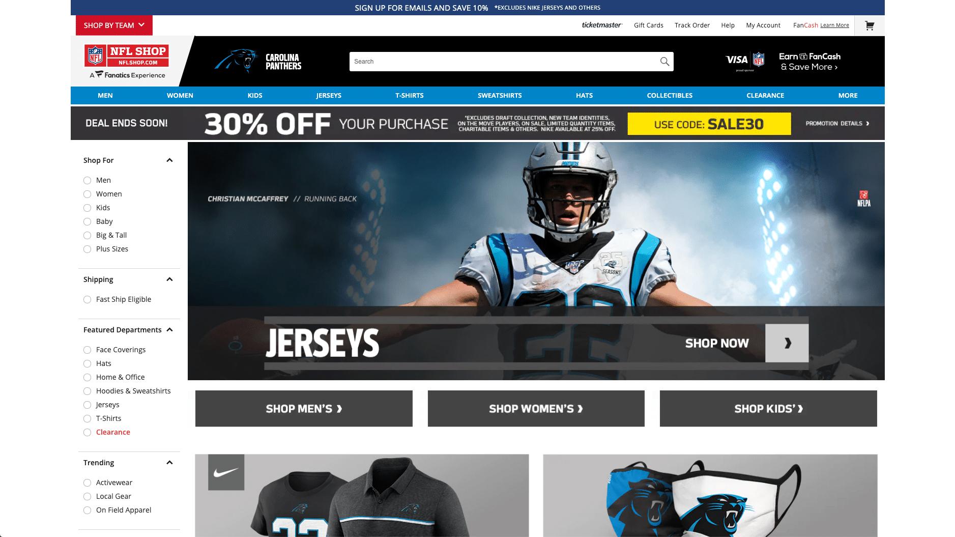 Carolina Panthers, a loja oficial da NFL