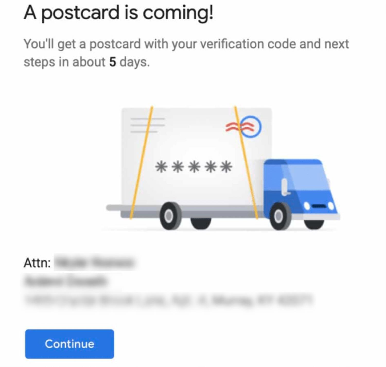 Verificação de cartões postais para Google Meu Negócio