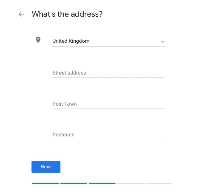 Escolhendo o endereço de uma empresa com instalações físicas