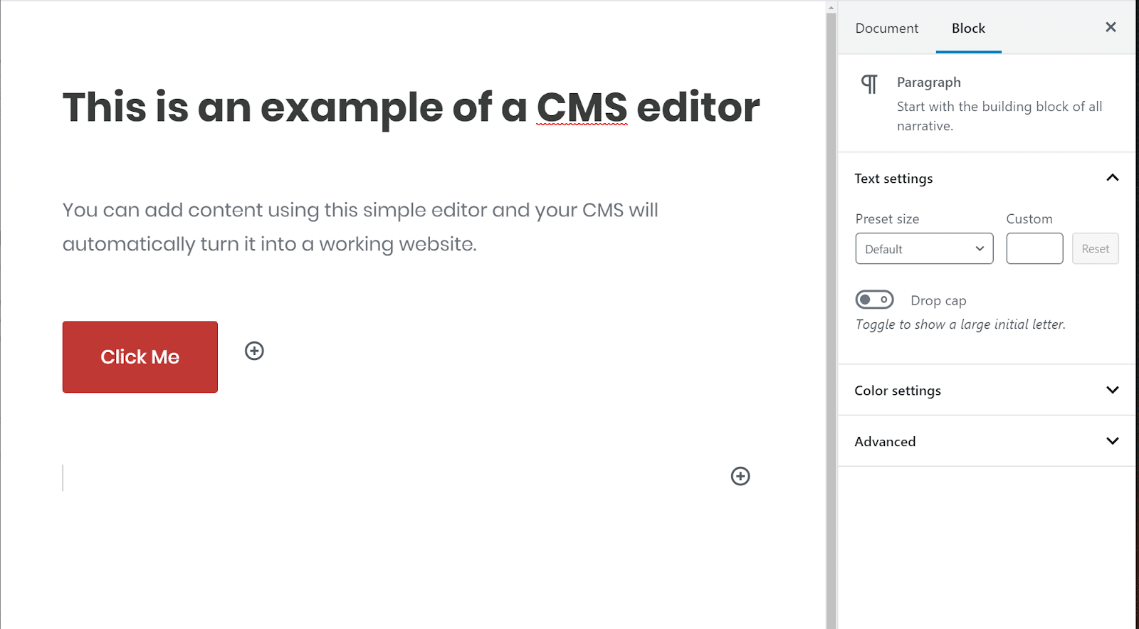 Exemplo de editor CMS