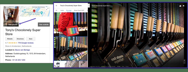 Um exemplo de fotos carregadas em um anúncio do Google Meu Negócio