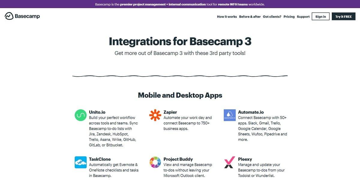 Integrações do Basecamp