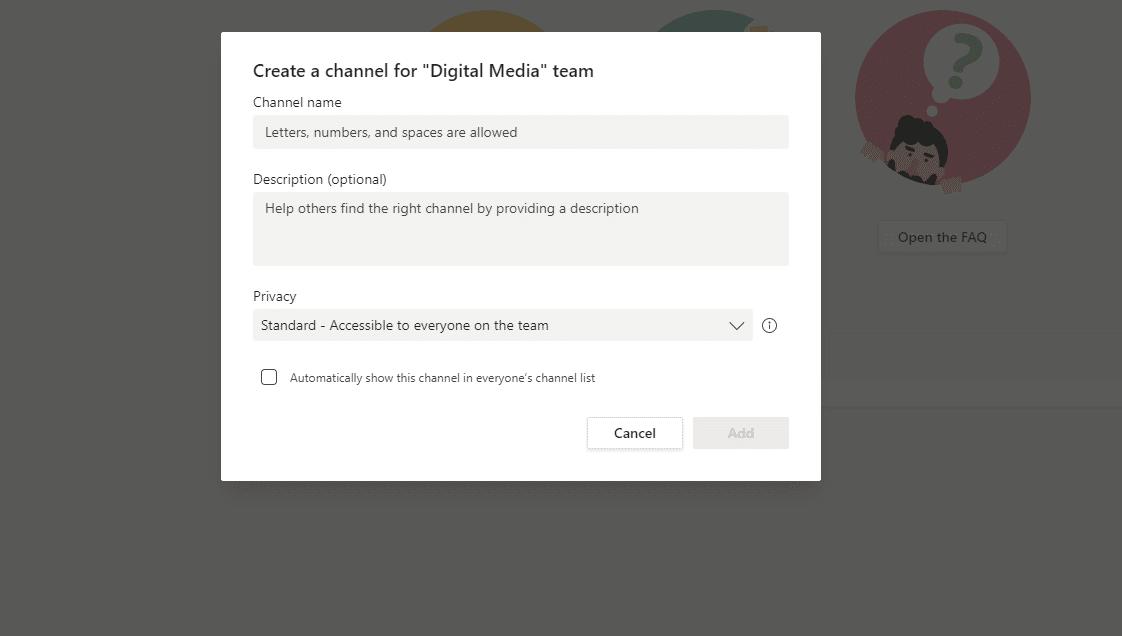Criando um novo canal nas Microsoft Teams