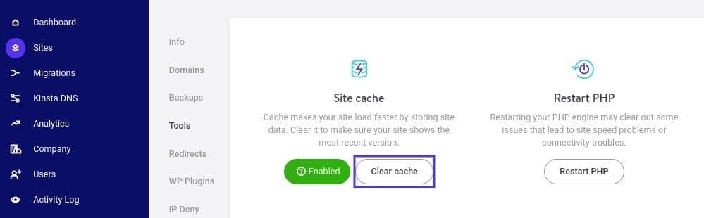 A opção Clear cache no MyKinsta