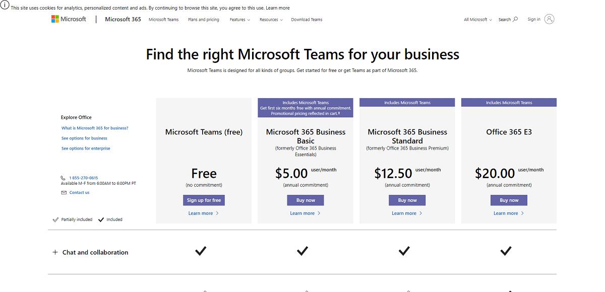 Planos e preços das Microsoft Teams