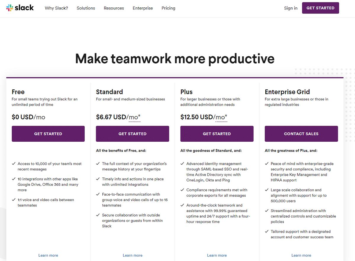Planos e preços da Slack