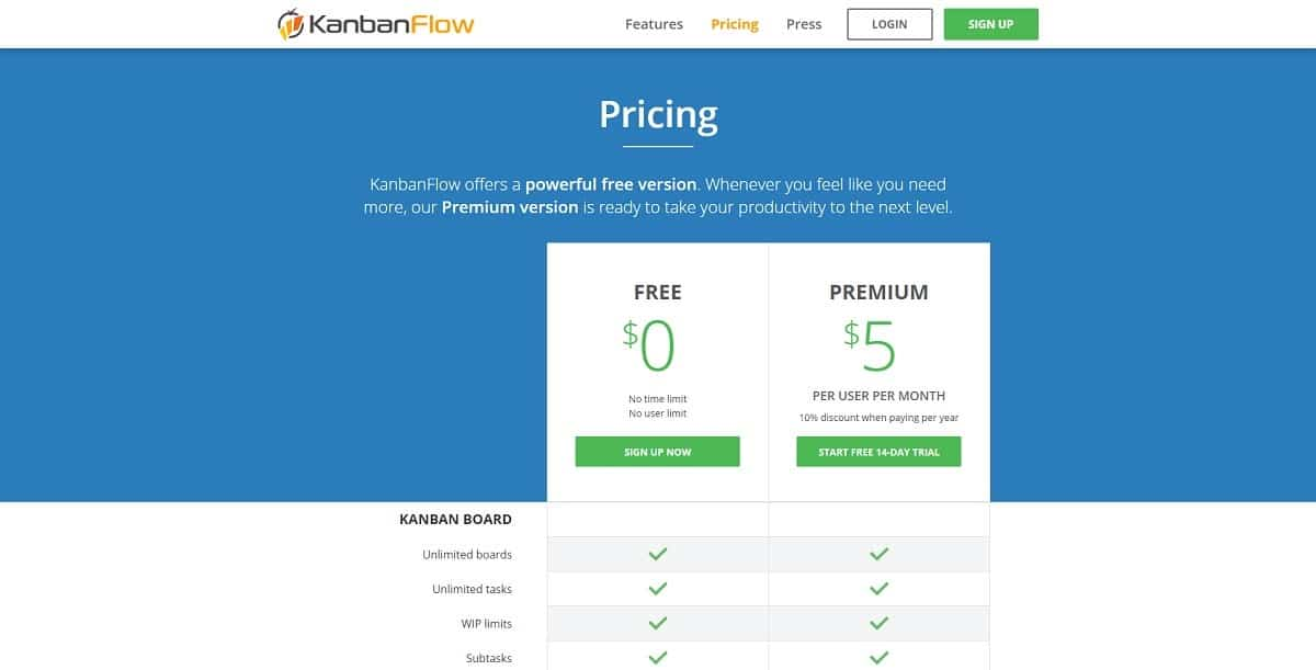 Preços KanbanFlow