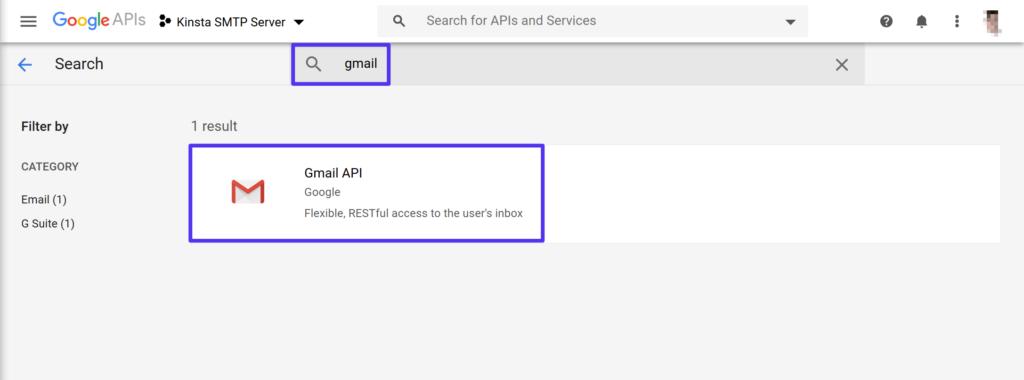 Procure o Gmail API