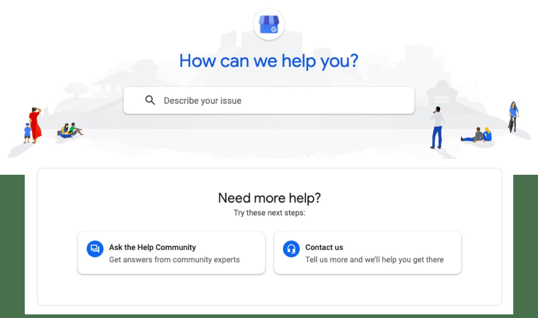Site de suporte do Google Meu Negócio