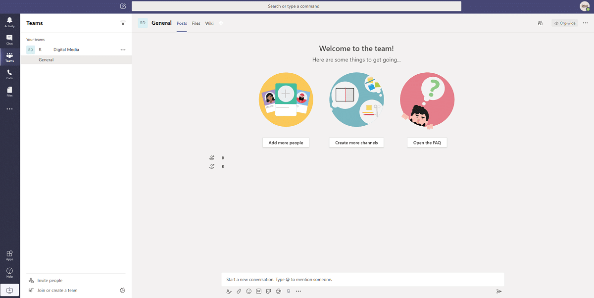 A IU das Microsoft Teams