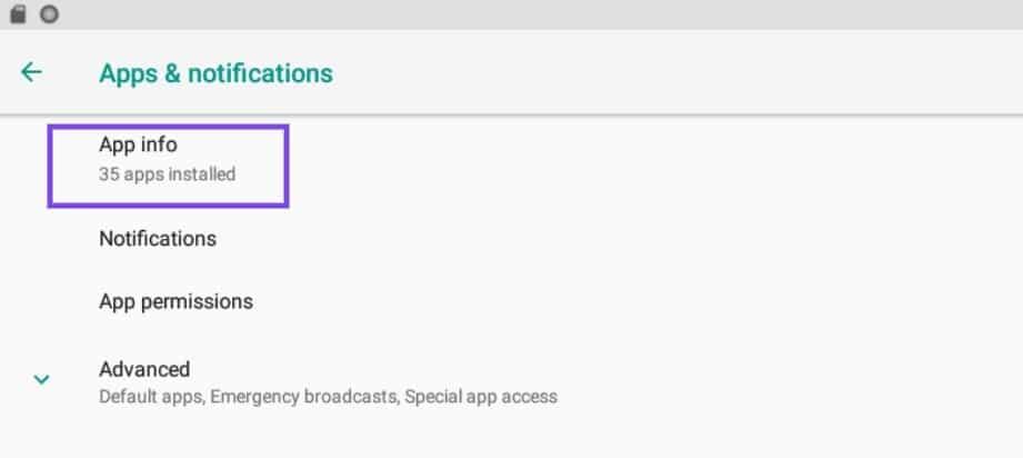 Configurações de informações do aplicativo no Android