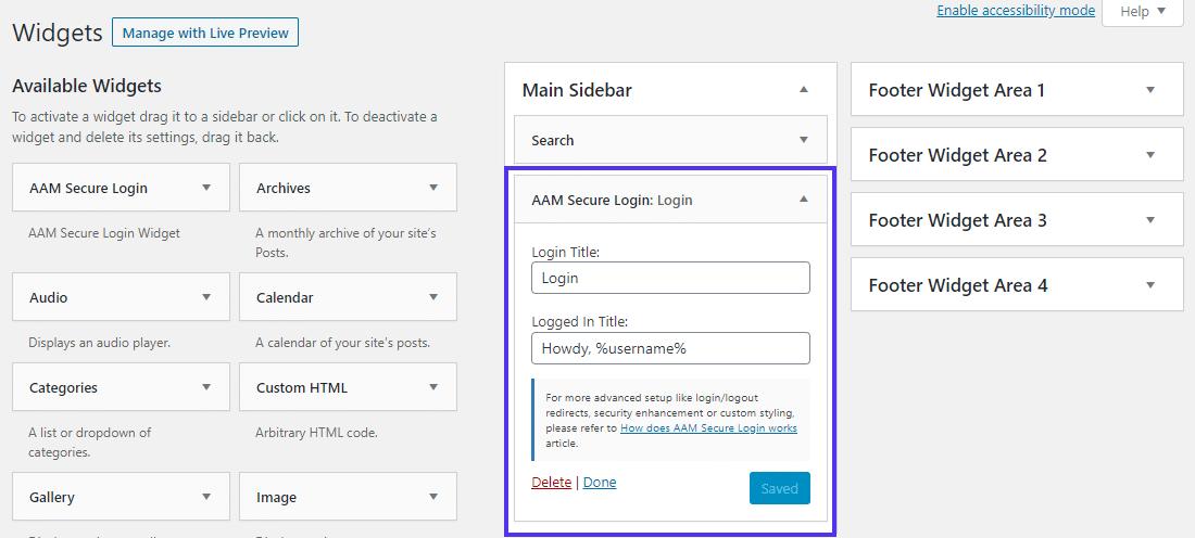 Widget 'AAM Secure Login' para adicionar um formulário de login frontend