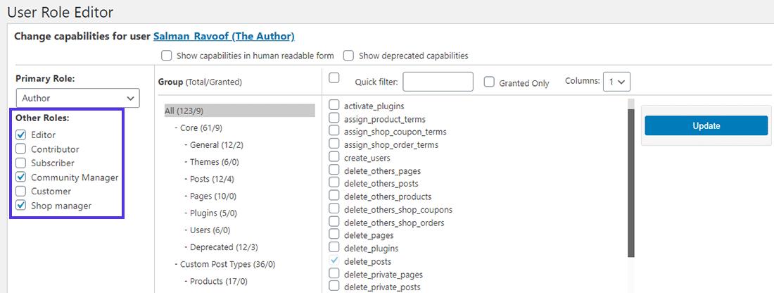 Atribuição de múltiplas funções para o mesmo usuário