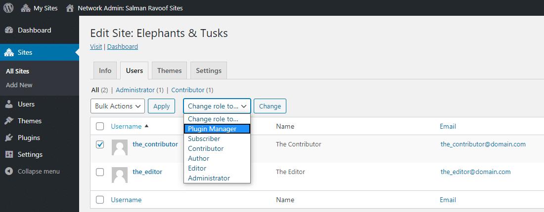 Atribuição do novo papel do usuário aos usuários existentes em subsites