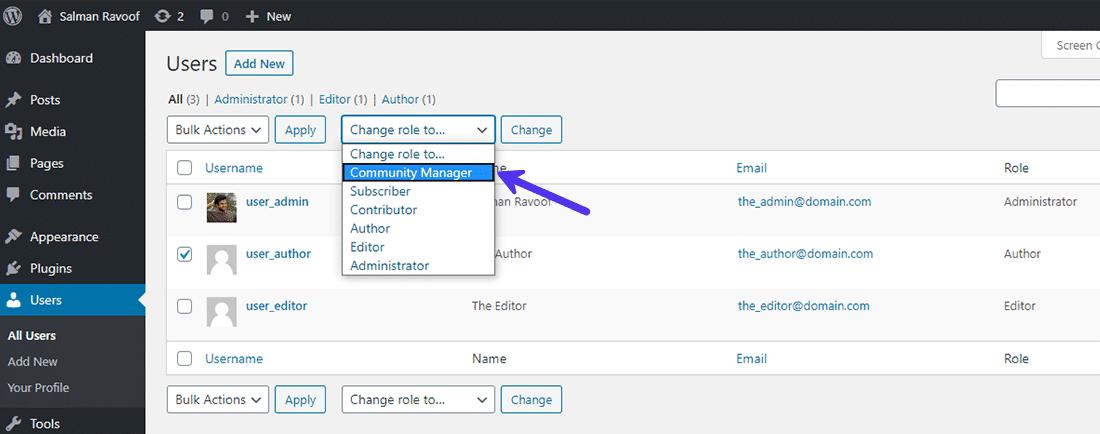 Atribuição do papel do usuário personalizado aos usuários existentes