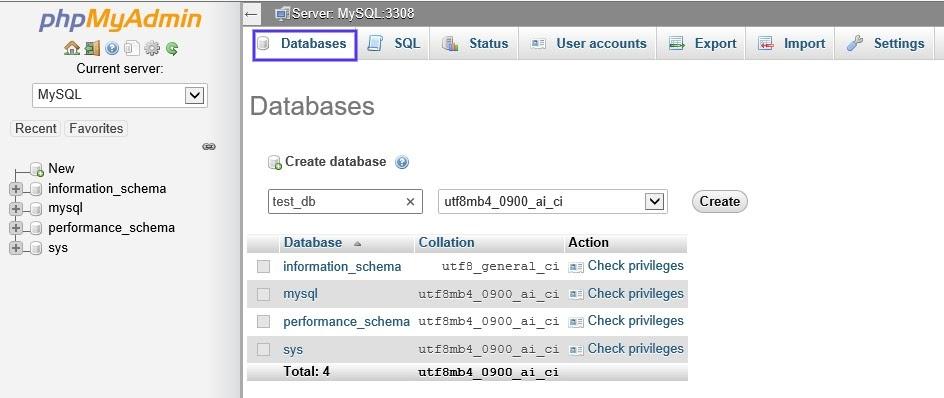 A página de bancos de dados do phpMyAdmin