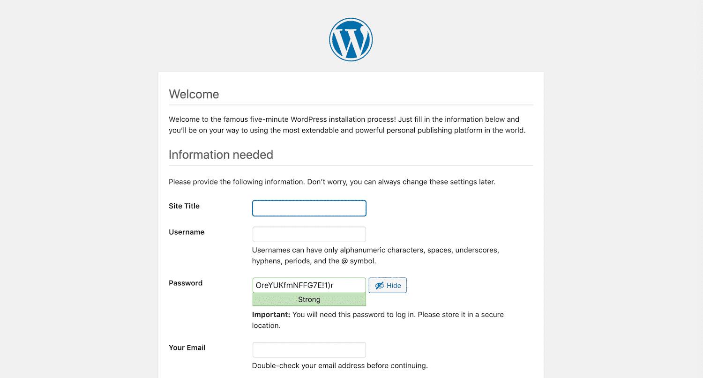 Completando o assistente de instalação do WordPress