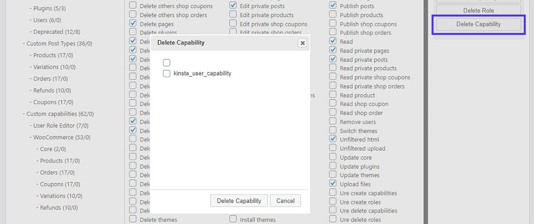 O botão 'Delete Capability' no User Role Editor
