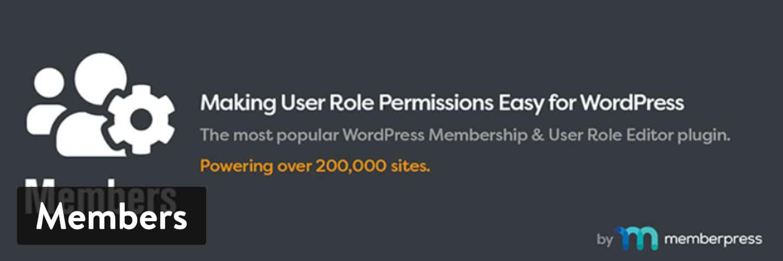 O plugin 'Members' WordPress por MemberPress