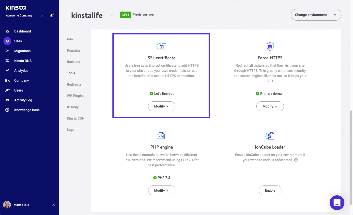 Ferramenta MyKinsta para habilitar o certificado SSL