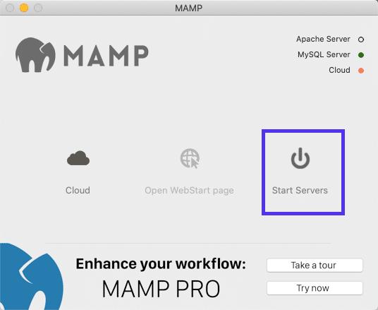 A opção de servidores de partida MAMP