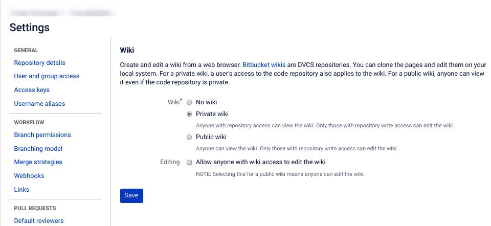 A página de configurações do wiki em Bitbucket