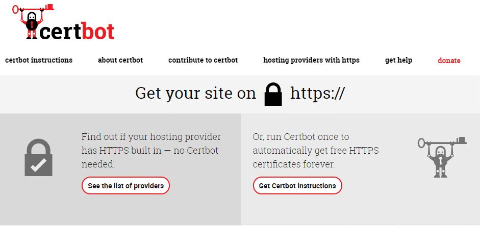 A página inicial da Certbot