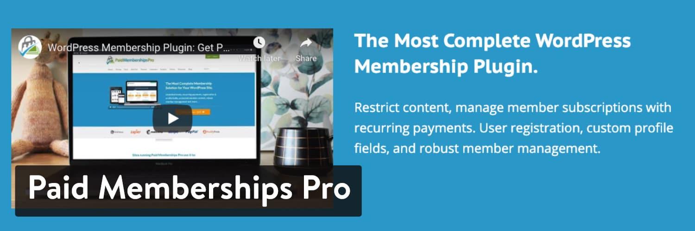 Paid Memberships Pro WordPress plugin