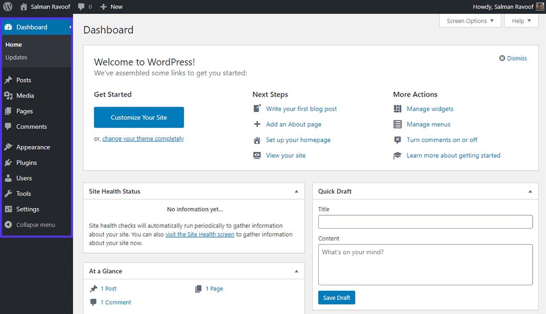 O painel de controle do papel de 'Administrador' no WordPress