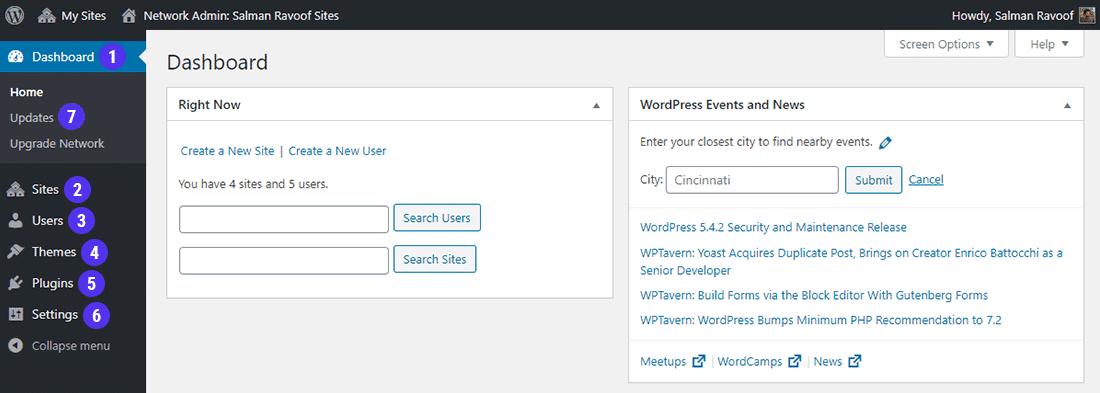 O painel de Network Admin inclui opções únicas para gerenciar a rede