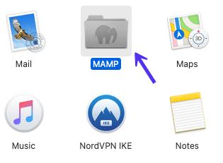 A pasta de aplicação MAMP