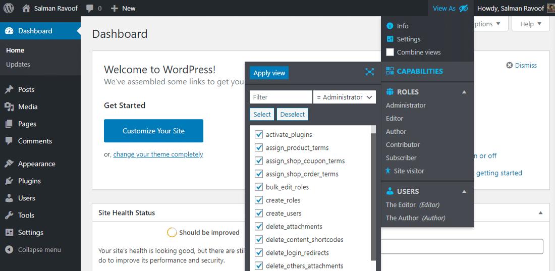 Personalize temporariamente as capacidades para seu usuário atual